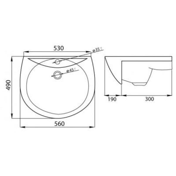 Умывальник Оптима с переливом с отверстием в упаковке с кольцом ЛЗСФ
