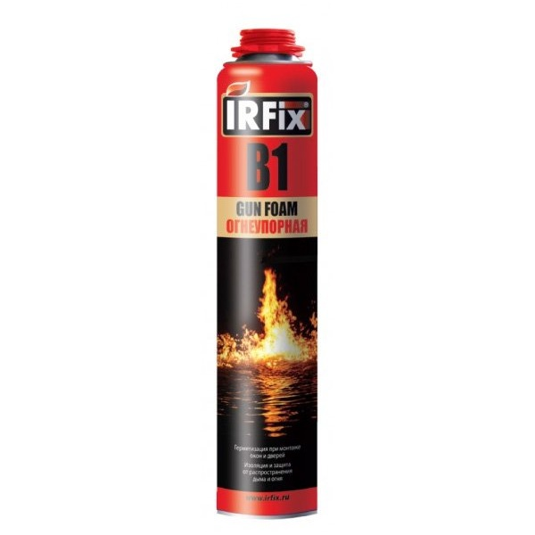 Пена монтажная профи, (IRFIX B1) огнеупорная полиуретановая 750 мл