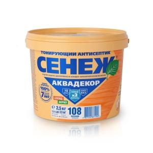 Тонирующий антисептик для дерева Сенеж Аквадекор 108 Черешня, 2,5 кг