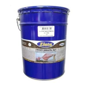 Грунт-Эмаль Злата по ржавчине 3в1 20 кг атмосферостойкая серая
