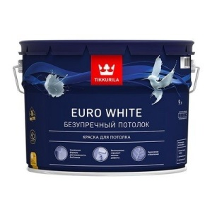 Краска белая для потолков Тиккурила EURO WHITE 9л (1)