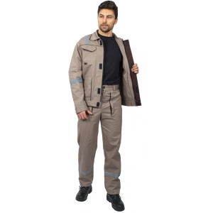 Костюм Респект (тк.Саржа,250) брюки, бежевый/коричневый