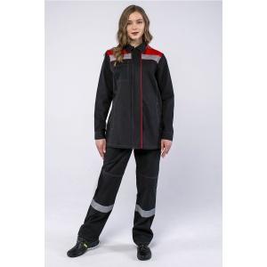 Костюм женский Смена (тк.Саржа,250) брюки, т.серый/красный