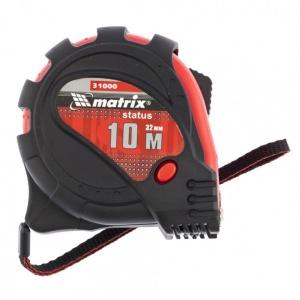 Рулетка Status magnet 3 fixations, 10 м х 32 мм, обрезиненный корпус, зацеп с магнитом MATRIX