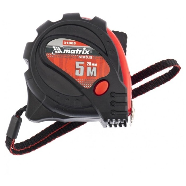 Рулетка Status magnet 3 fixations, 5 м х 25 мм, обрезиненный корпус, зацеп с магнитом Matrix