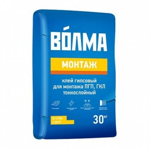 Клей гипсовый ВОЛМА МОНТАЖ ПГП И ГКЛ тонкослойный 30 кг